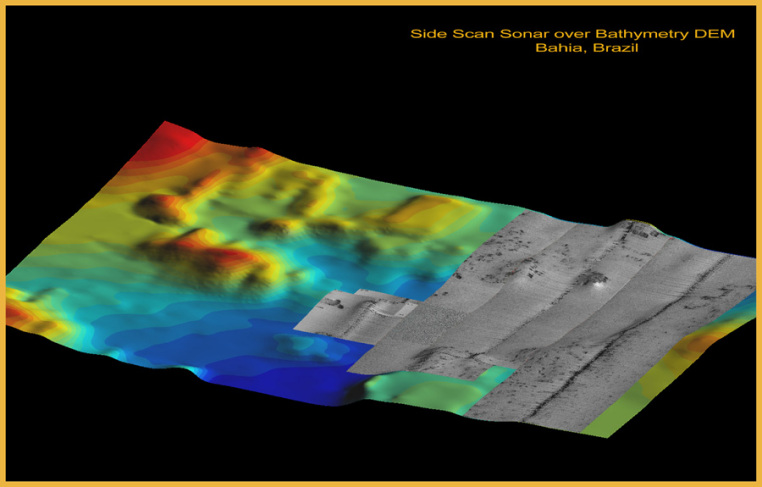 3D DEM Map with Side Scan Sonar - Bahia, Brazil Seafloor