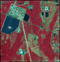 Satellite image of a Nigerian oil production facility - near infrared (NIR)