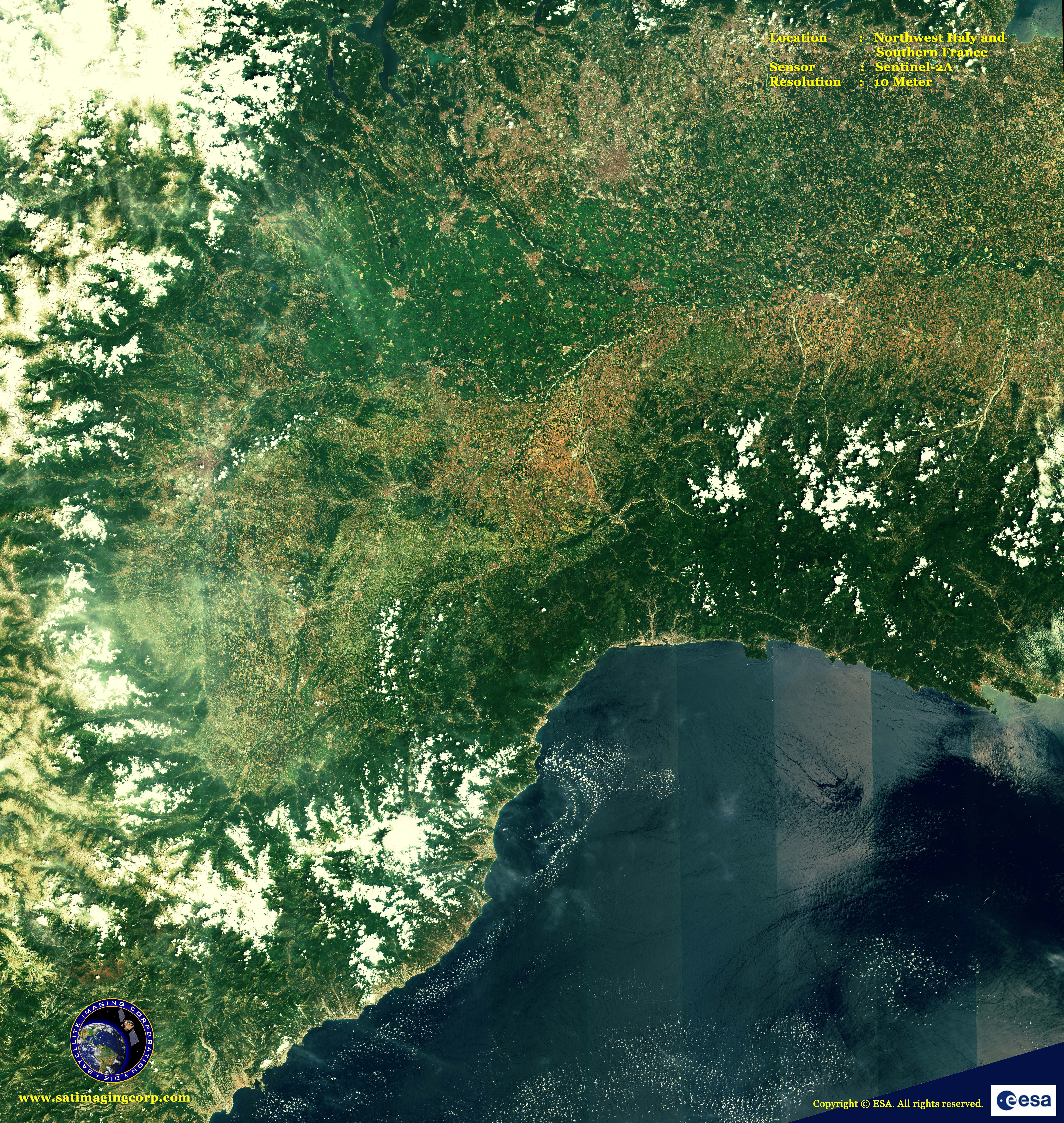 Sentinel2A Satellite Image NW Italy S France  Satellite Imaging Corp