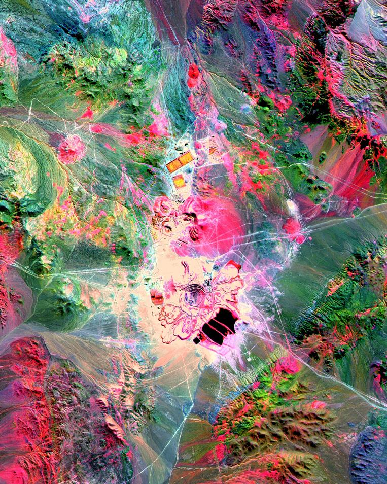 ASTER SWIR Bands 4-6-8 in RGB, Escondida Mine - Chile