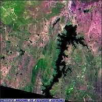 CBERS-2 Satellite Image of Dam on Piranhas (or Acu) River, Brazil