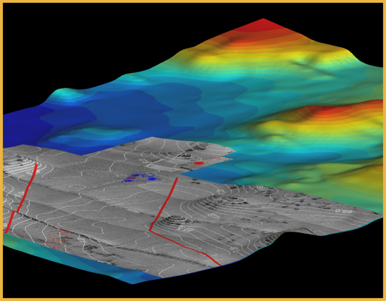 3D DEM Map of Bahia, Brazil Seafloor with Elevation Markings