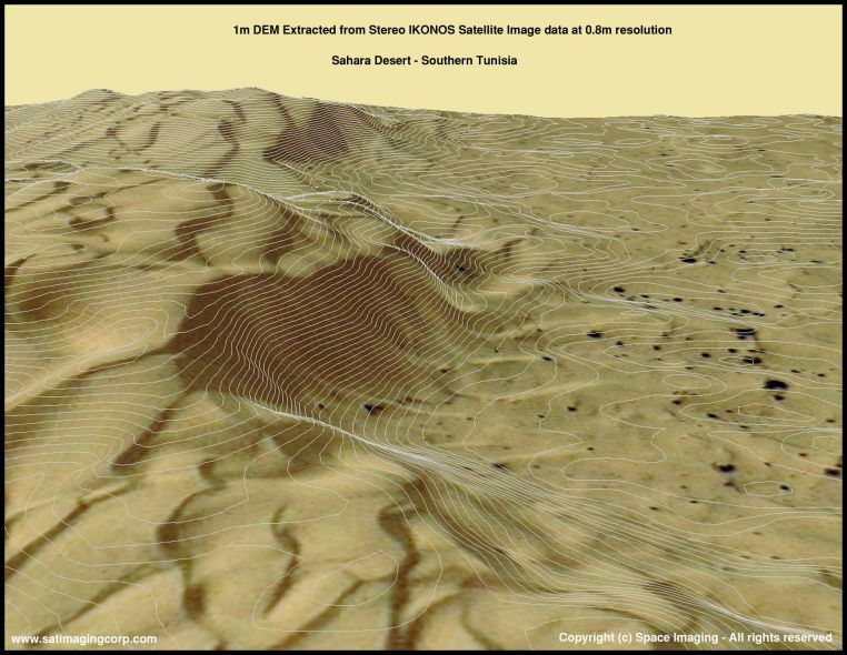 3D DEM Map of Sahara Desert, Tunisia