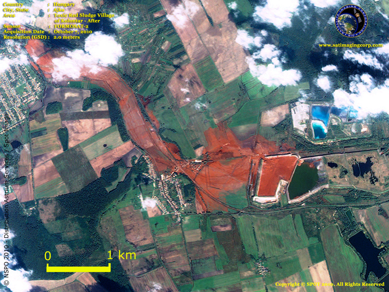 FORMOSAT-2 Satellite Image of Toxic Red Sludge in Hungary