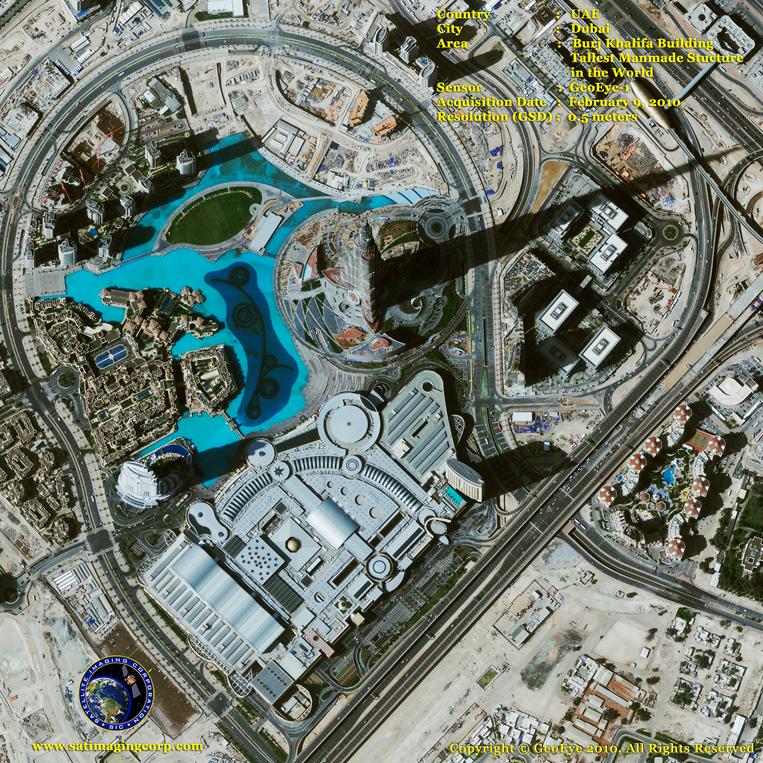 GeoEye-1 Satellite Image of Burj Khalifa in Dubai