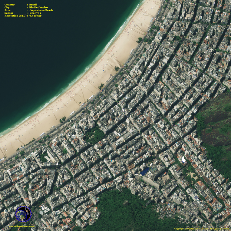 GeoEye-1 Satellite Image - Copacabana Beach - Rio de Janeiro - Brazil