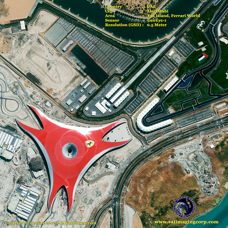 GeoEye-1 Satellite Image of Ferrari World on Yas Island in Abu Dhabi, UAE
