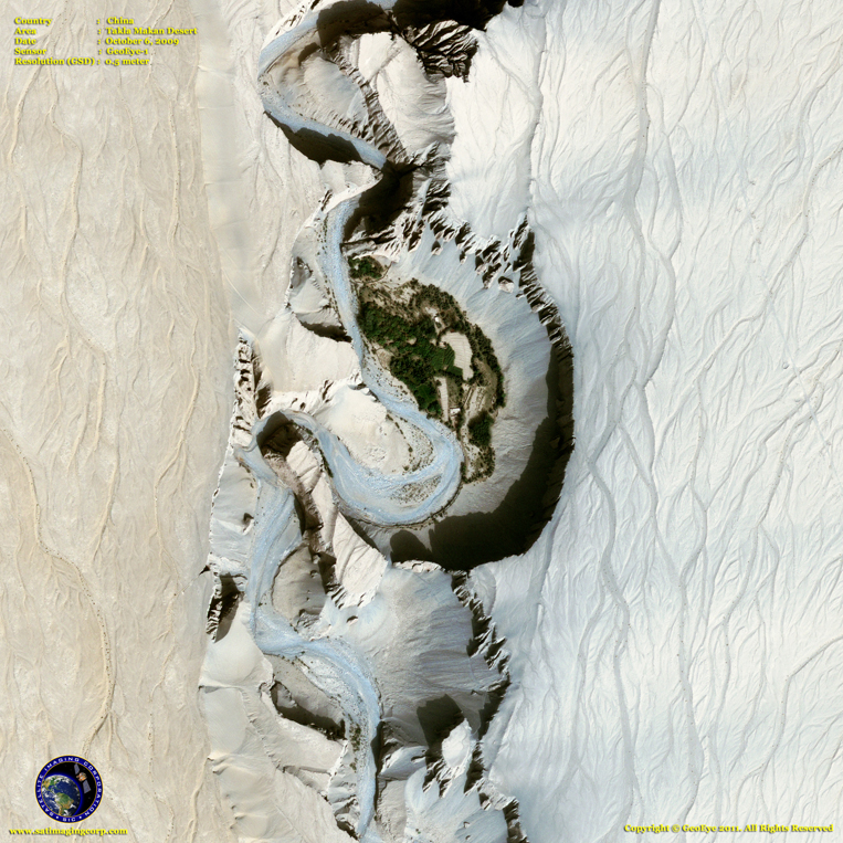 GeoEye-1 Satellite Image of the Takla Makan Desert Canyon Settlement - Gobi Desert - China