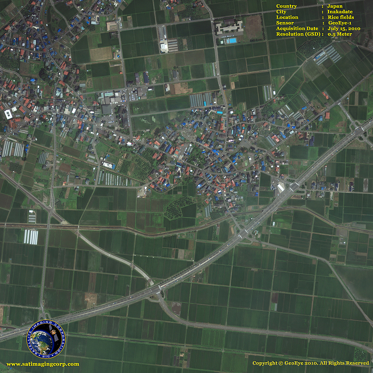GeoEye-1 Satellite Image of Inakadate, Japan