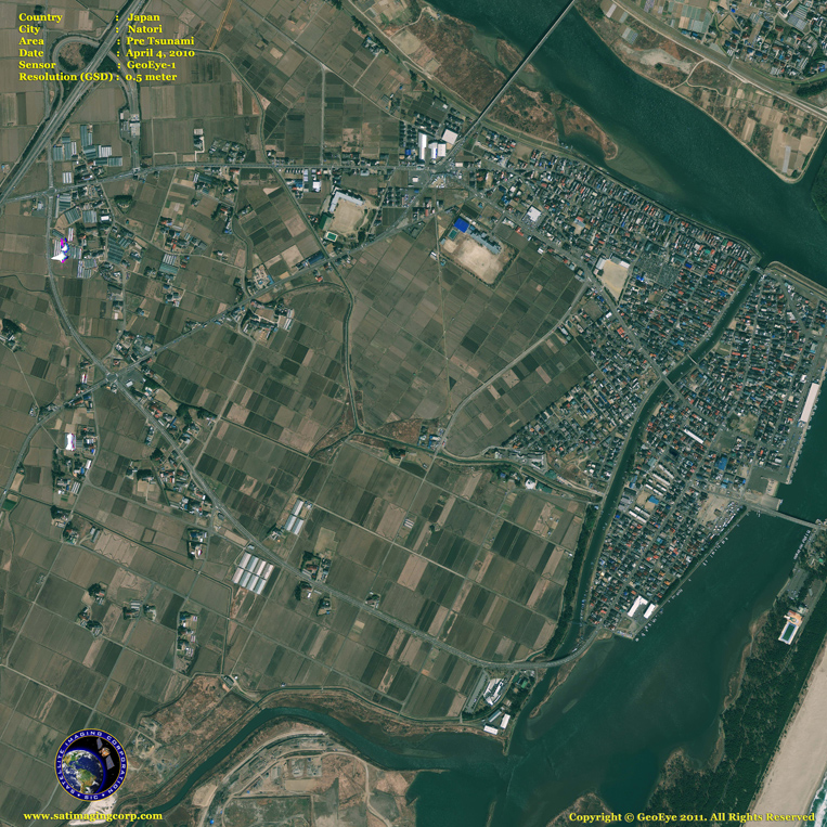 GeoEye-1 Satellite Image of Natori, Japan (Before)