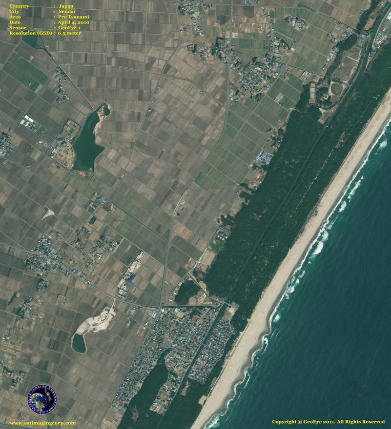 GeoEye-1 Satellite Image of Sendai, Japan (Before)