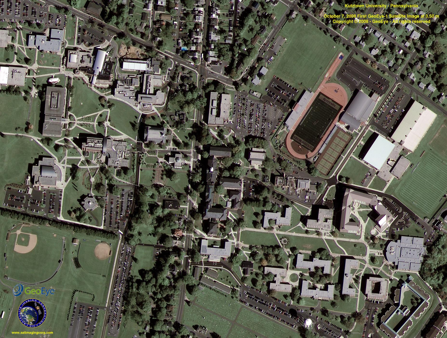 Google maps earth satellite - Geoeye 1 Satellite Image Of Kutztown University Download Image Google Maps