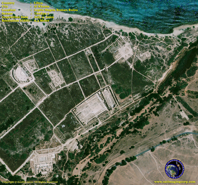 GeoEye-1 Satellite Image of the Leptis Magna Roman Ruins