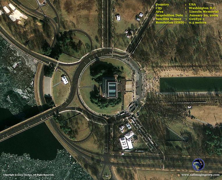 GeoEye-1 Satellite Image of the Lincoln Memorial