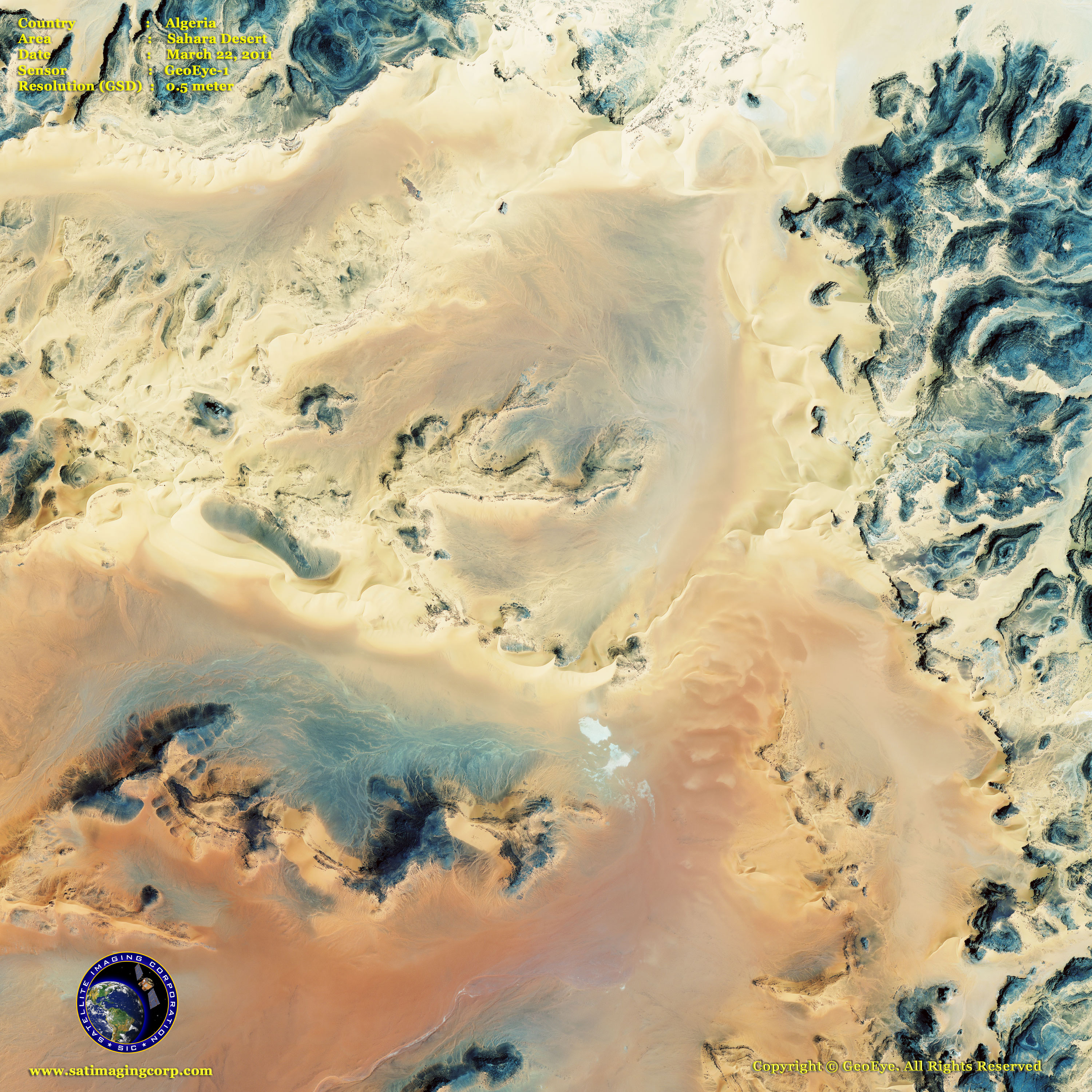 Middle East Map of the Sahara Desert Satellite Imaging Corp
