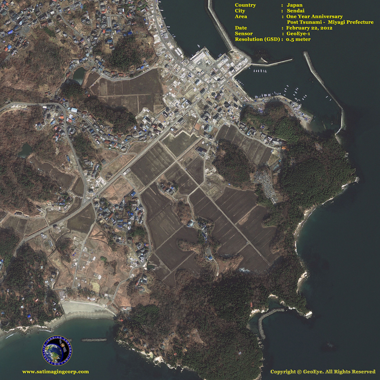GeoEye-1 Satellite Image of Tsunami Aftermath