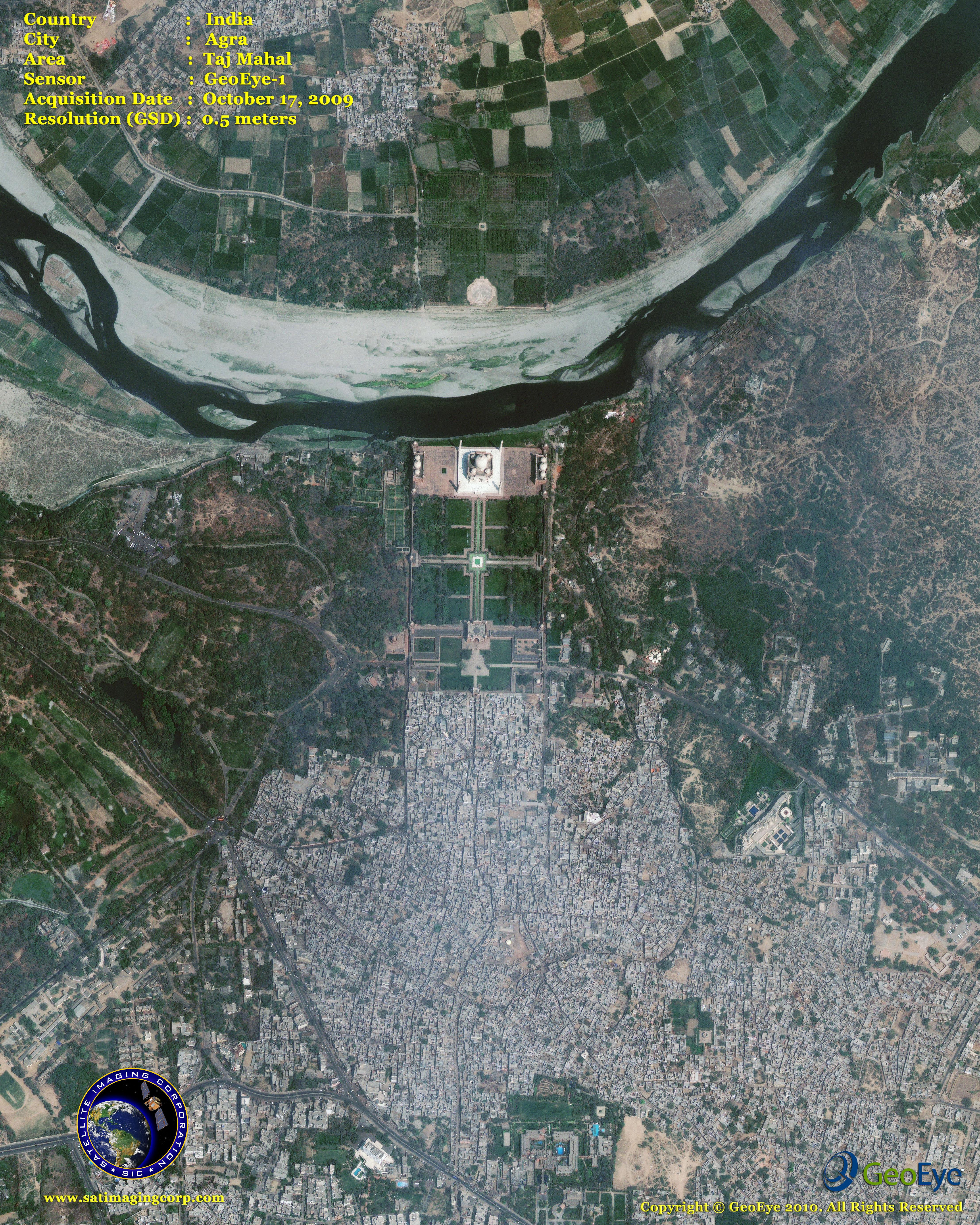 GeoEye Satellite Image Of The Taj Mahal Satellite Imaging Corp - Map through satellite
