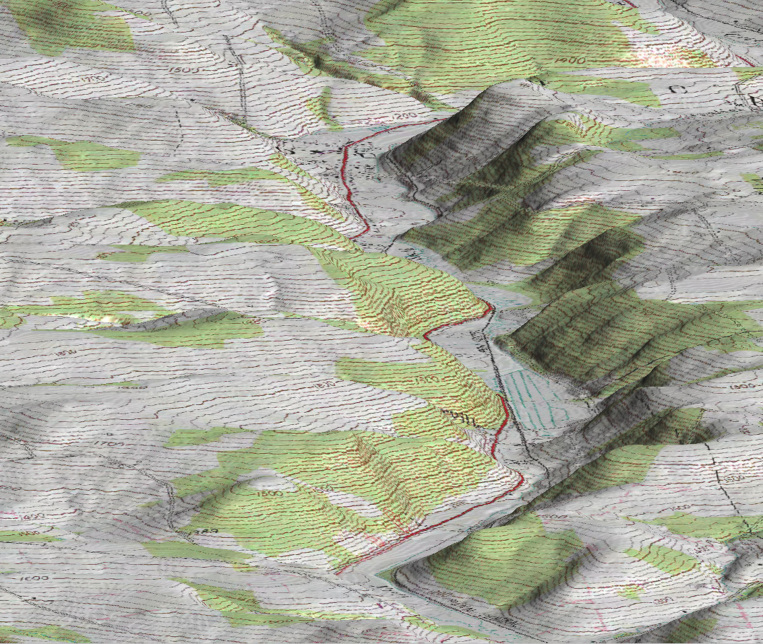 3D DEM Topographical Map of Pennsylvania (Pseudo Color)