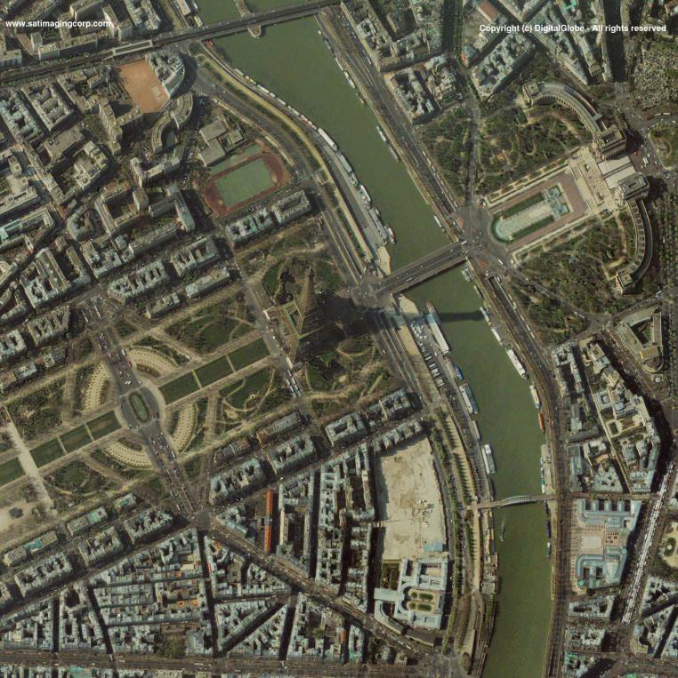QuickBird Satellite Image of Paris, France (Eiffel Tower)