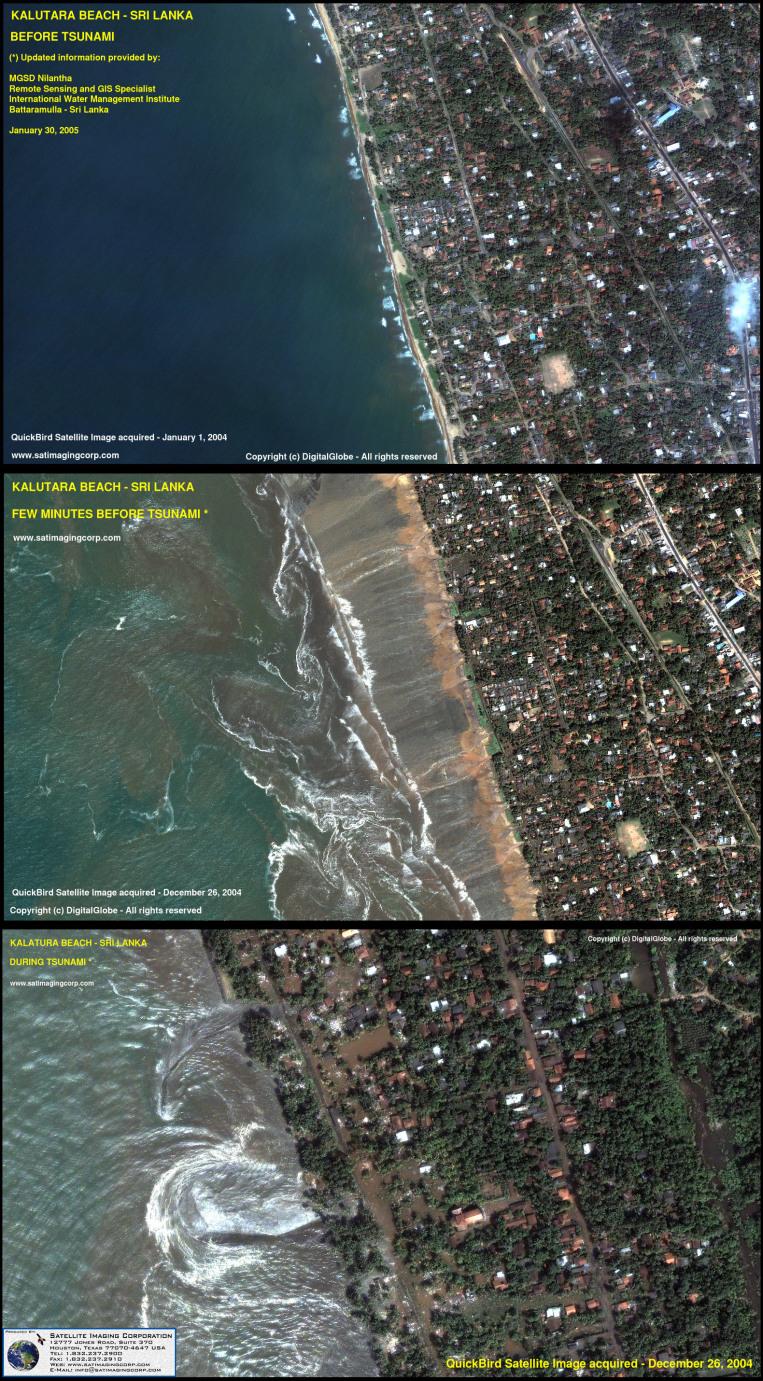 QuickBird Satellite Image of Tsunami Damage, Sri Lanka