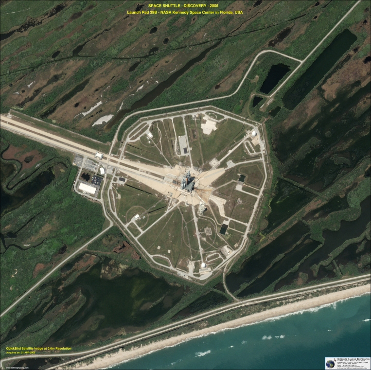 QuickBird Satellite Image of Kennedy Space Center - Space Shuttle Discovery