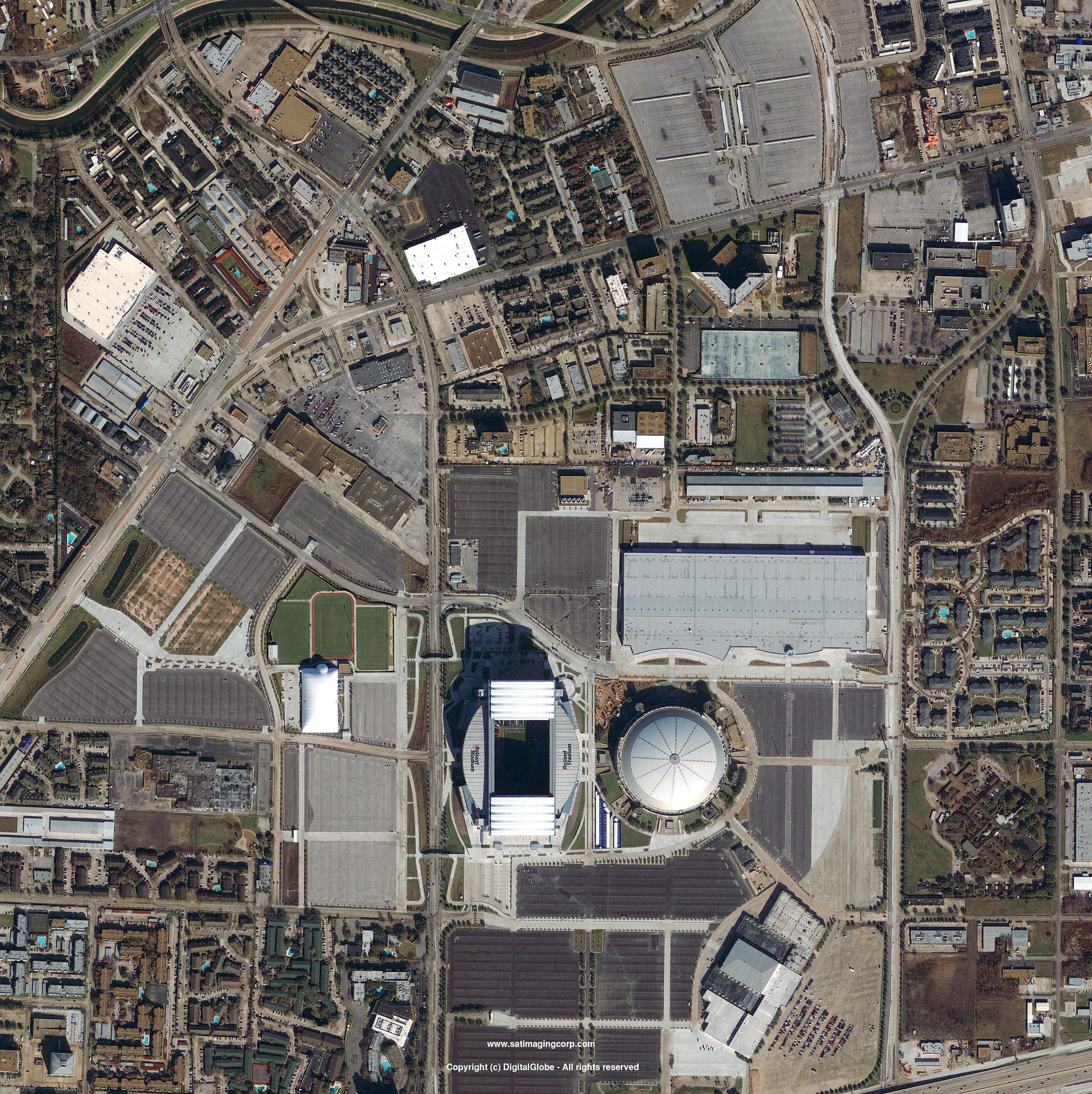 QuickBird Satellite Image Houston Reliant Stadium Satellite - Satellite maps texas