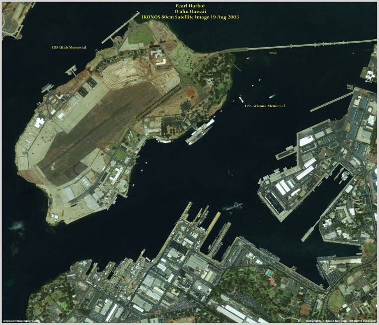 IKONOS Satellite Image of Pearl Harbor Memorial, Hawaii