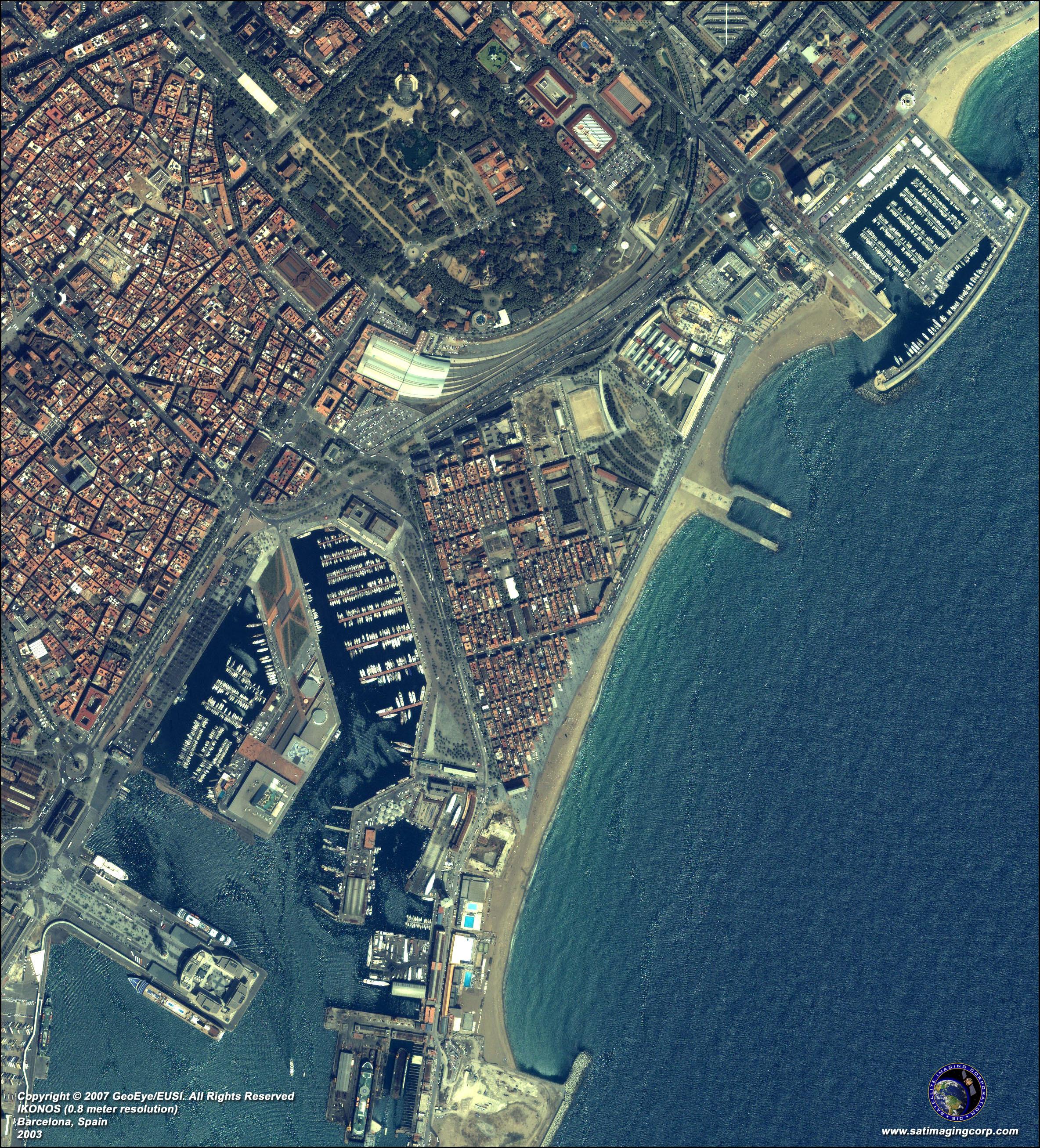 IKONOS Satellite Image of Barcelona Spain Satellite Imaging Corp