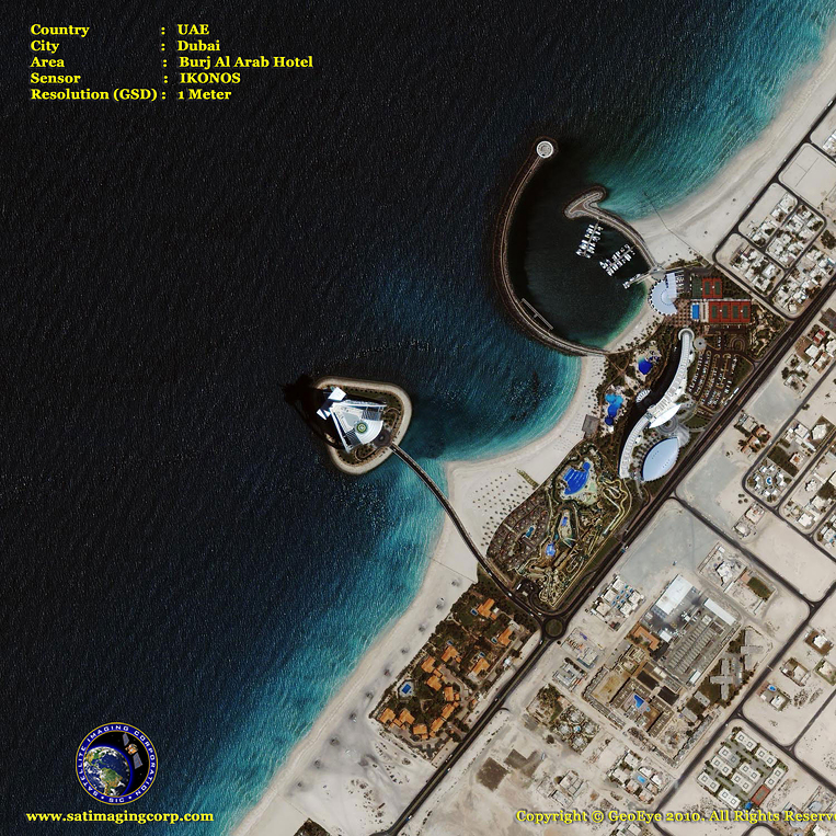 IKONOS Satellite Image of the Burj Al Arab Hotel