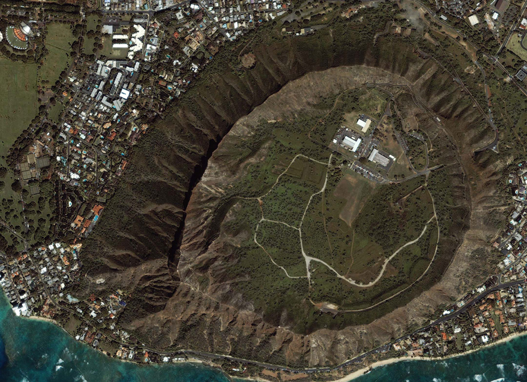 IKONOS Satellite Image of the Diamond Head Crater in Hawaii