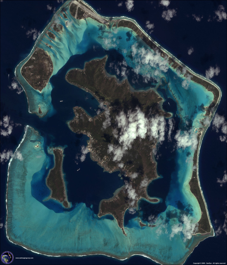 IKONOS Satellite Image of Bora Bora, Pacific Ocean