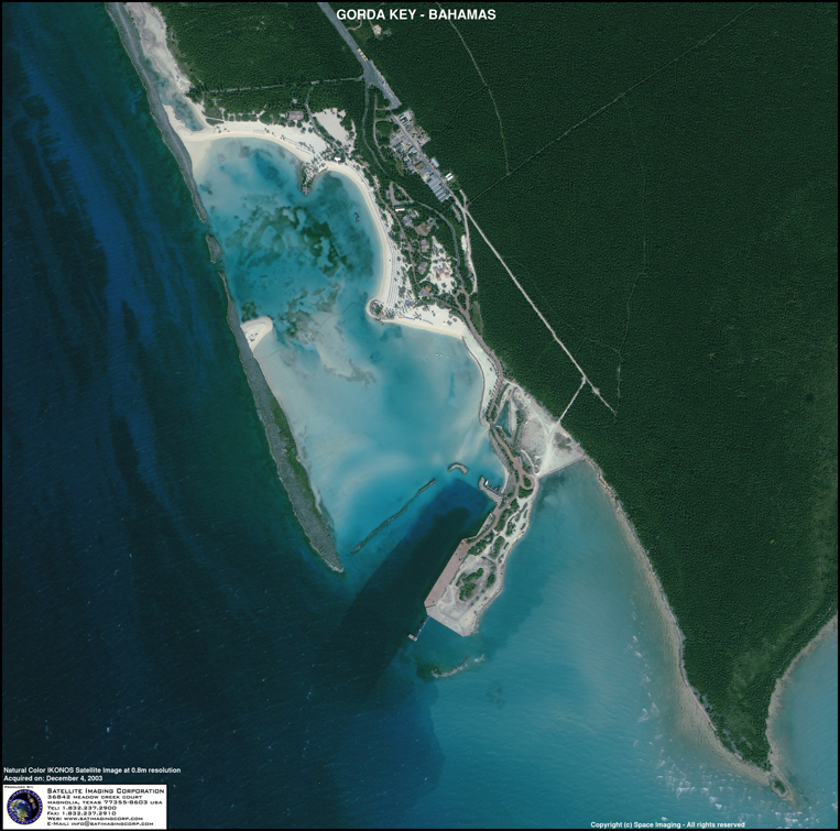 IKONOS Satellite Image of Gorda Key, Bahamas