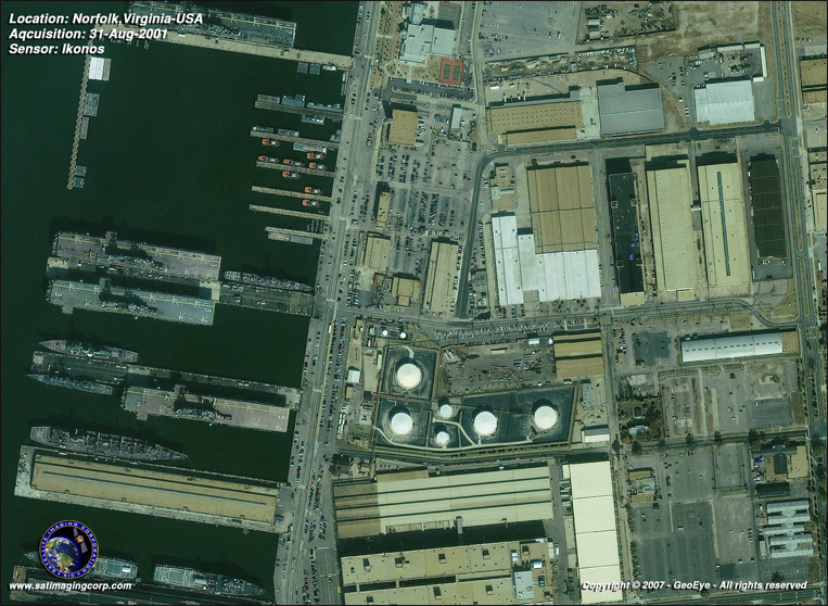 IKONOS Satellite Image of Norfolk, Virginia Naval Base