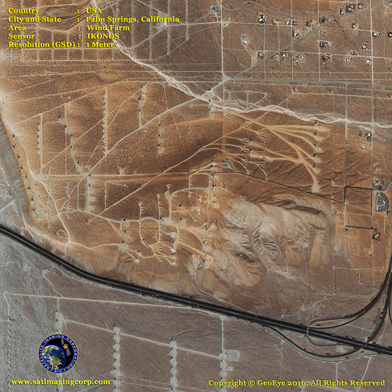 IKONOS Satellite Image of a Wind Energy Farm near Palm Springs
