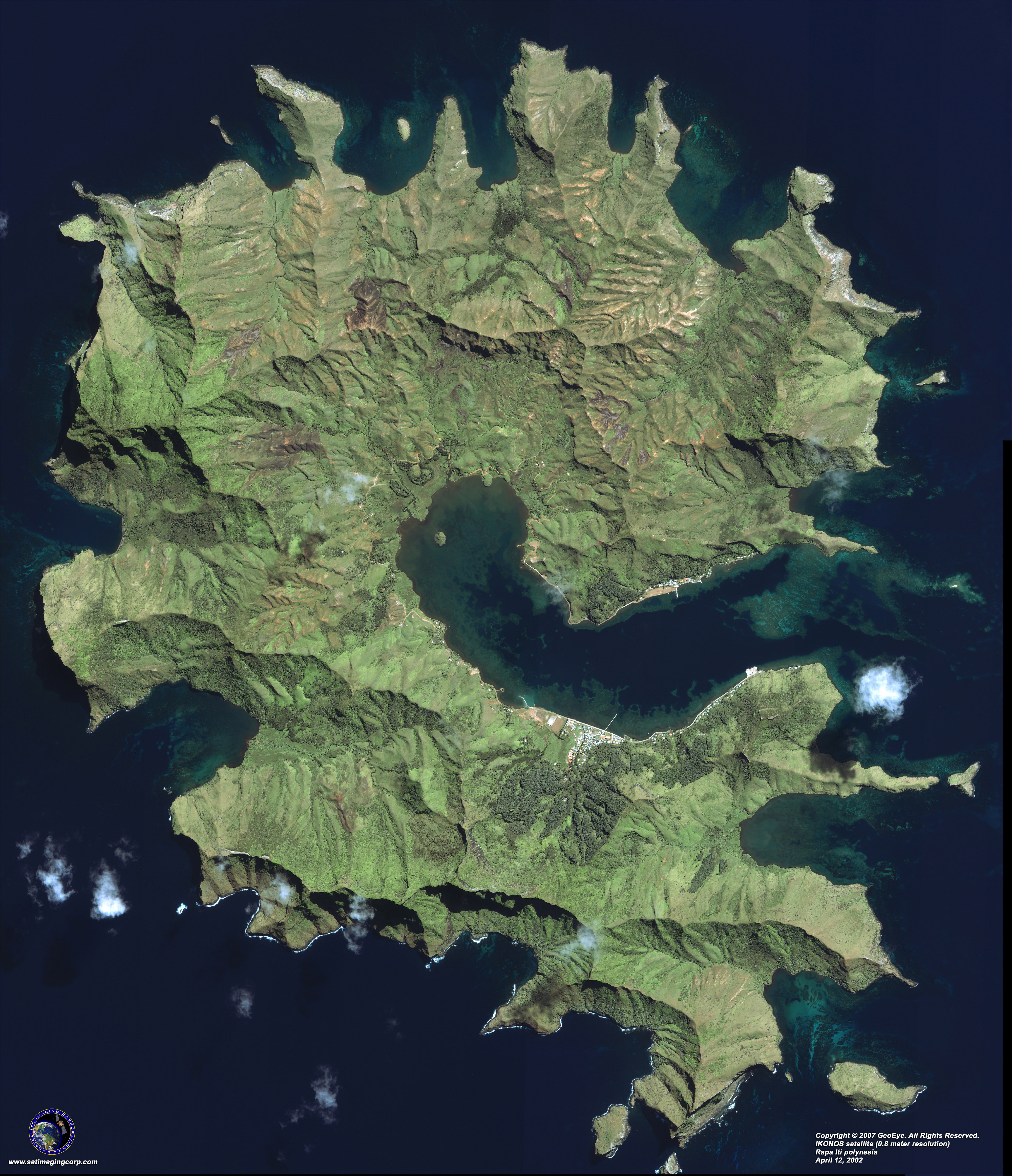 ikonos satellite image of rapa iti polynesia satellite