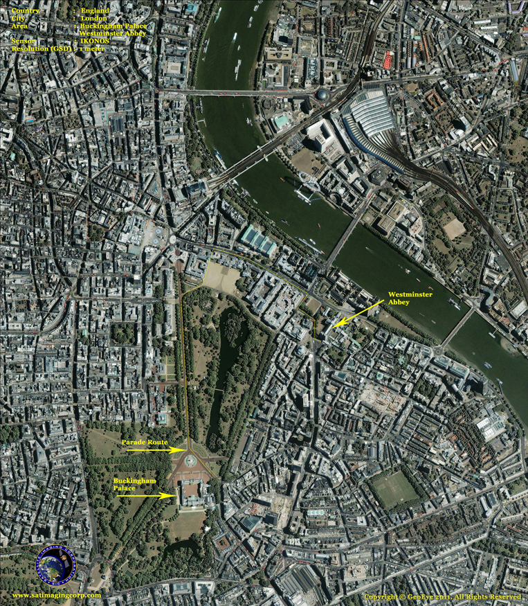 IKONOS Satellite Image of London, England - Royal Wedding