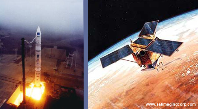 Launch of IKONOS Satellite; IKONOS Satellite orbiting Earth