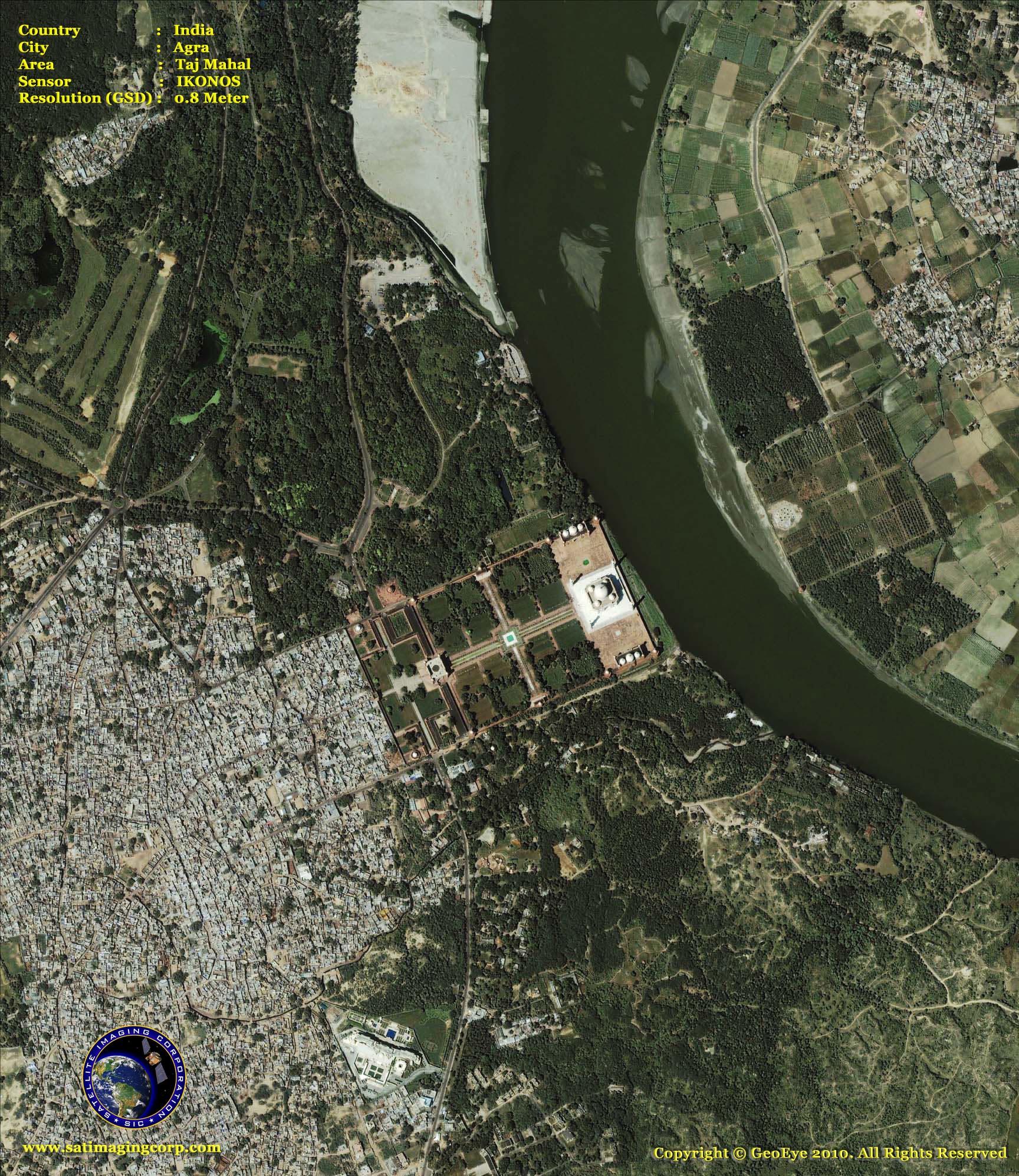 Satellite Map Of Delhi IKONOS Satellite Image Taj Mahal | Satellite Imaging Corp