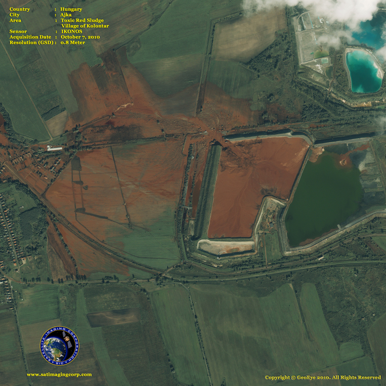 IKONOS Satellite Image of Toxic Red Sludge in Hungary
