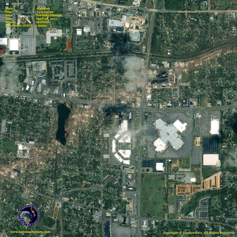 IKONOS Satellite Image of Tornado Damage in Tuscaloosa, Alabama