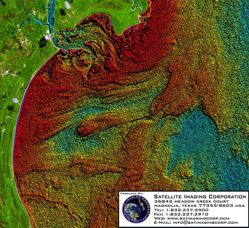 Satellite Image Bahia, Brazil Seafloor Landsat