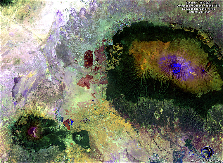 LANDSAT Satellite Imagery of Amboseli and Arusha National Park