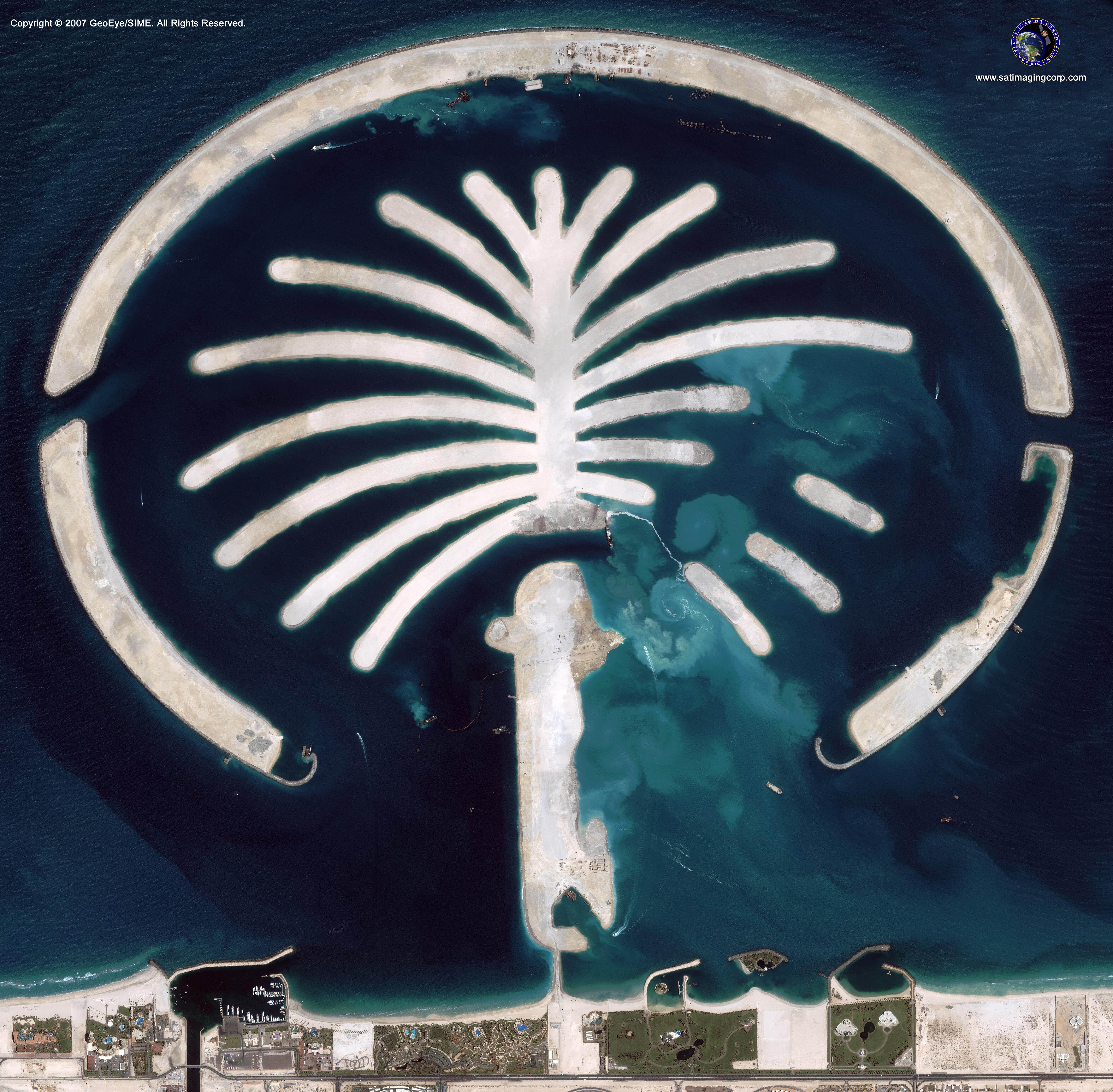 ikonos satellite image of palm islands uae satellite imaging corp