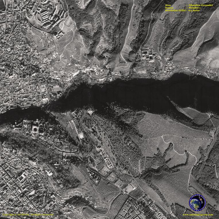Pleiades-1 Satellite Image of Grenade (Alhambra)