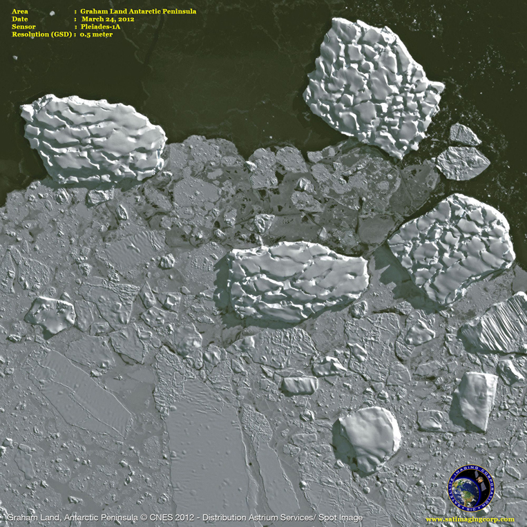 Pleiades-1A Satellite Image of the Graham Land Antarctic Peninsula