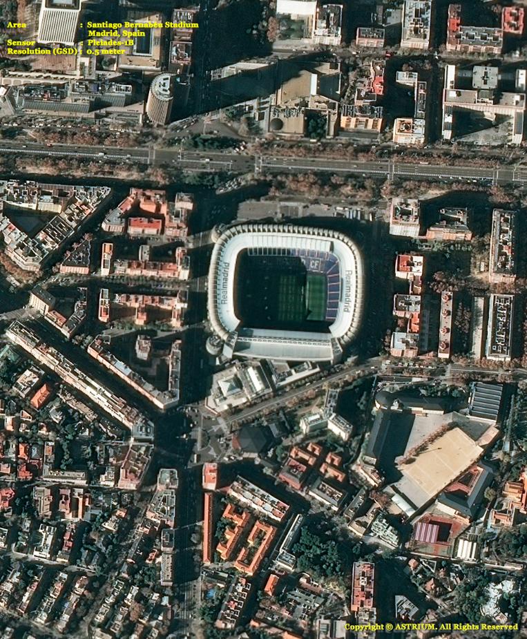 Pleiades-1 Satellite Image of Santiago Bernabéu Stadium