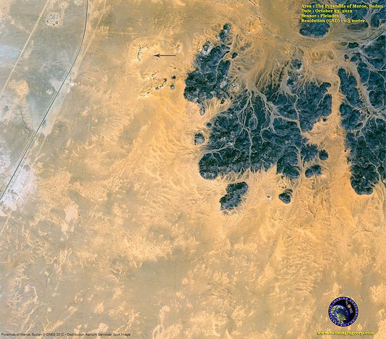Pleiades-1 Satellite Image of Meroe, Sudan Pyramids