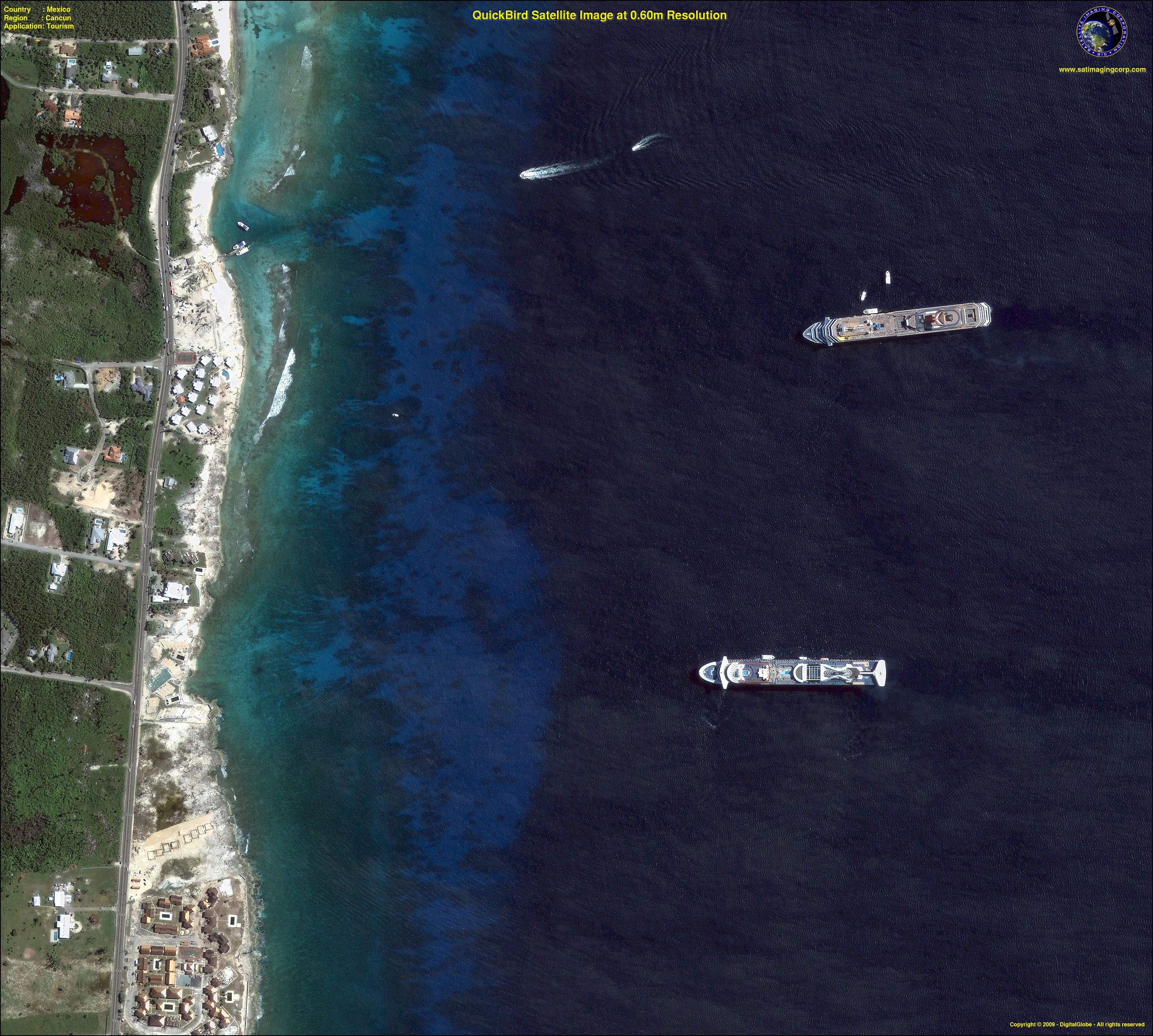 satellite maps mexico quickbird satellite image of cancun mexico satellite imaging corp