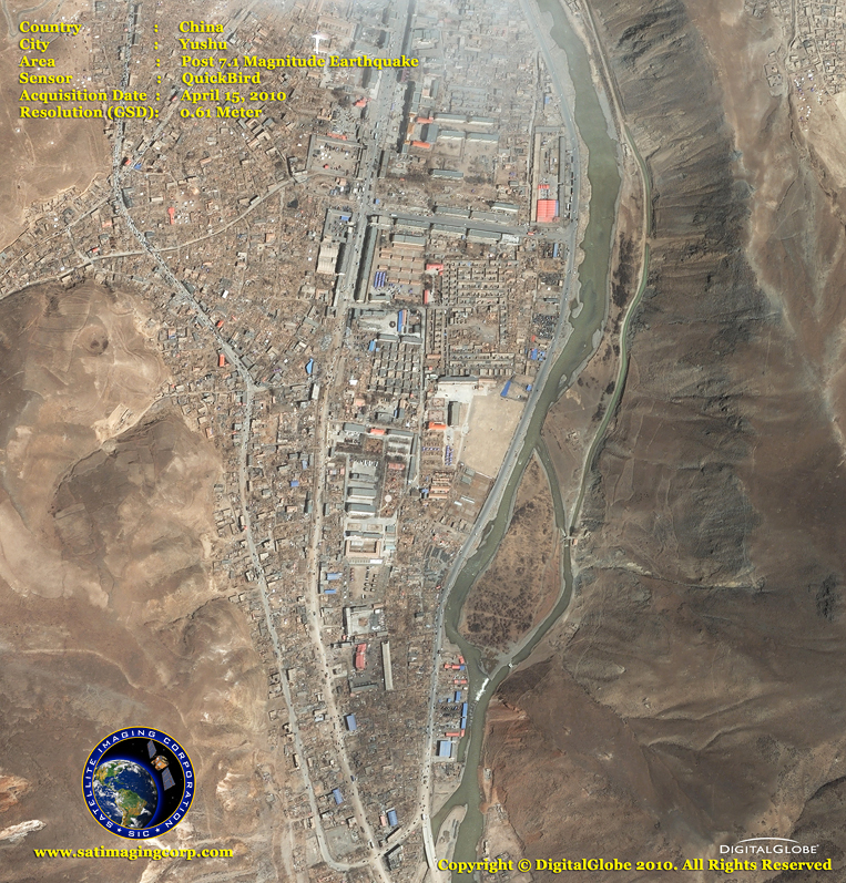 QuickBird Satellite Image - Yushu, China - Post-Earthquake