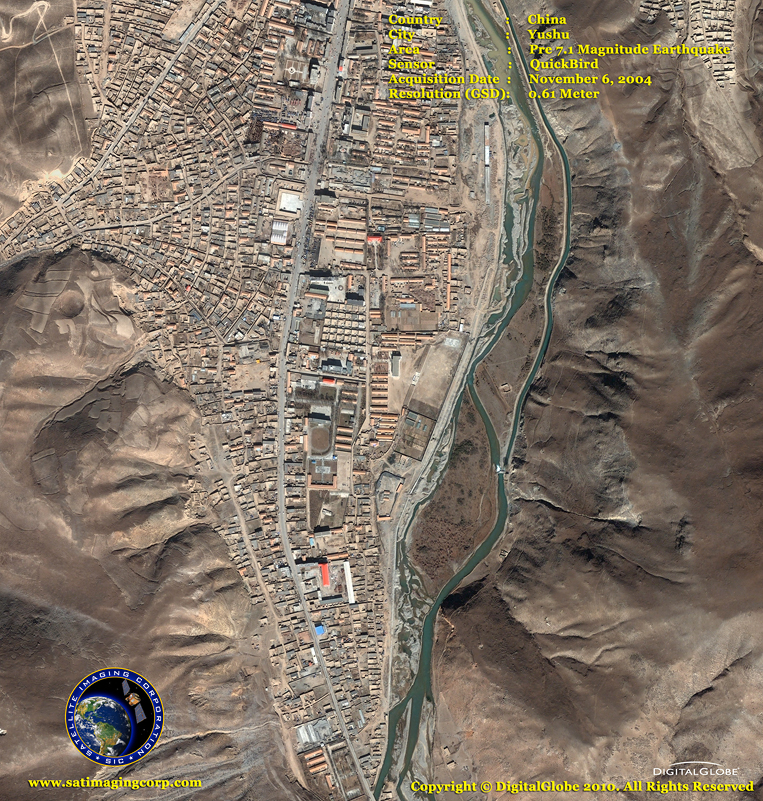 QuickBird Satellite Image - Yushu, China - Pre-Earthquake